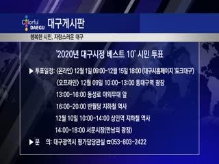 '2020년 대구시정 베스트 10' 시민 투표