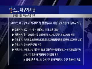 2021년 대구광역시 '지역주도형 청년일자리 사업' 참여기업 및 참여자 모집