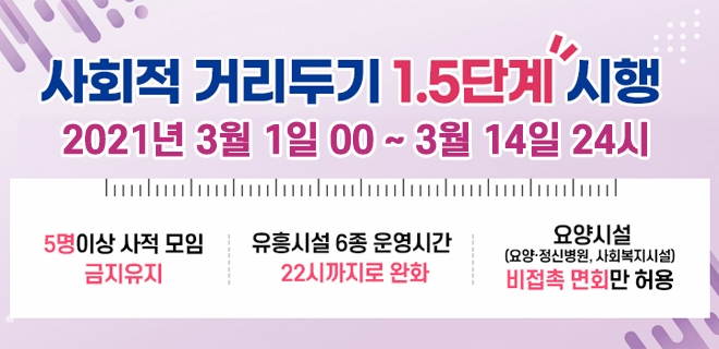 대구시 사회적 거리두기 현행 1.5단계 2주 연장