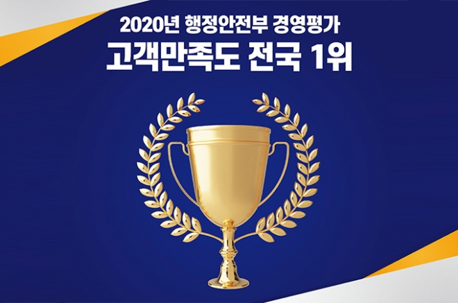 행정안전부 경영평가 고객만족도 조사 전국 1위