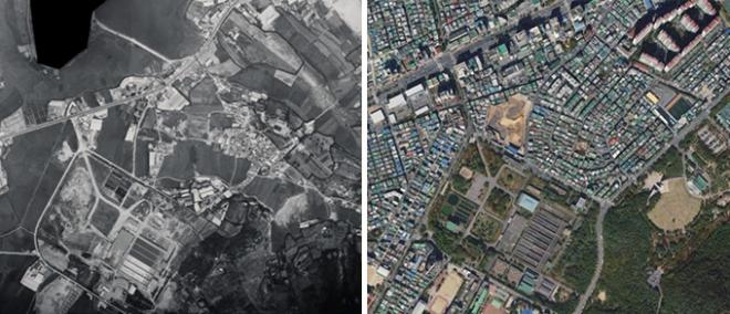 '도시개발로 변화된 과거 현황 항공사진으로 확인하세요'