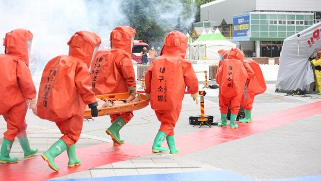 대구소방, 화학 테러 사고 대비 합동훈련 실시
