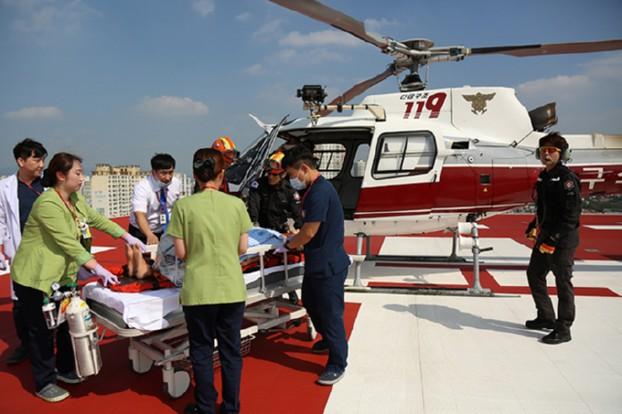 병원간 소방헬기 항공이송 합동 훈련 실시