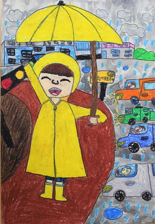 대상 작품 - 작품명 : 어두운 밤, 비가 올 땐 밝은 우산과 밝은 우비가 최고!