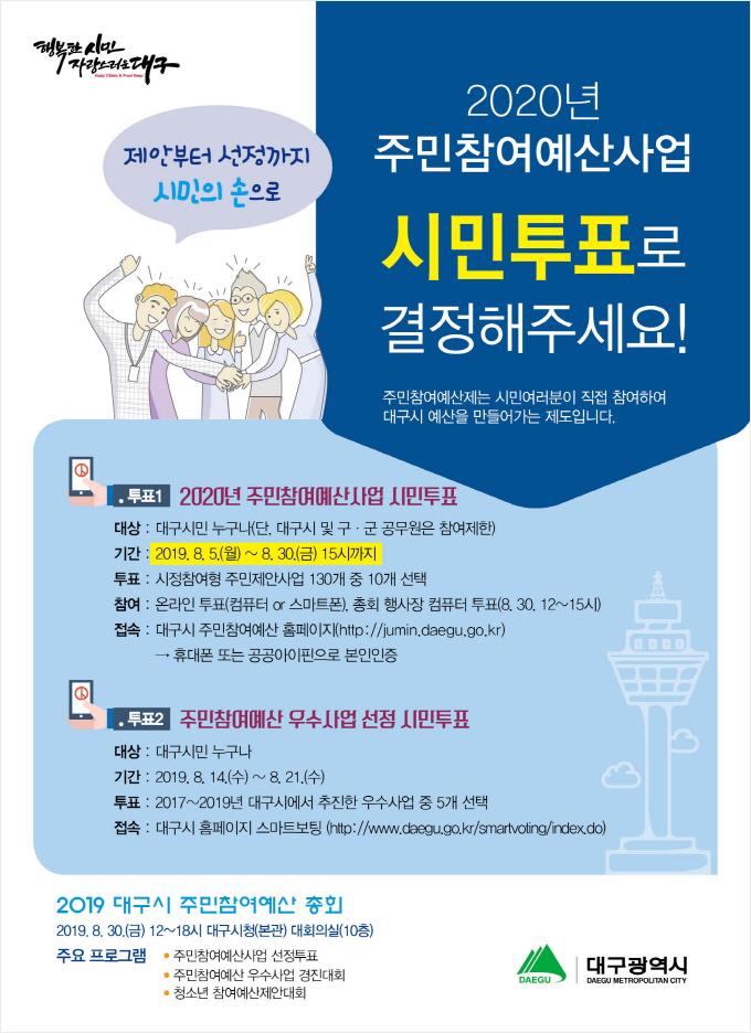 2020년 주민참여예산사업 선정 시민투표 포스터